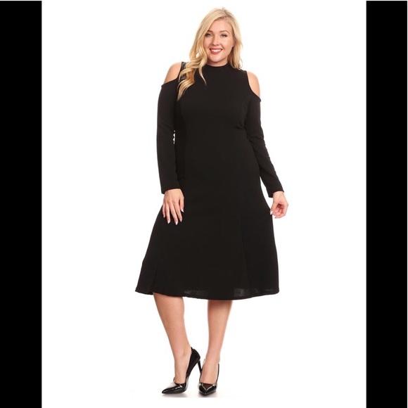 Plus Long Sleeve Flare Midi Dress 2X Boutique